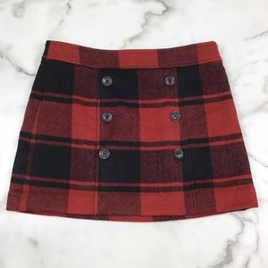 Gap Red & Black Plaid Wool Blend Skirt